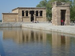 View of the Temple of Debod and the surrounding pond