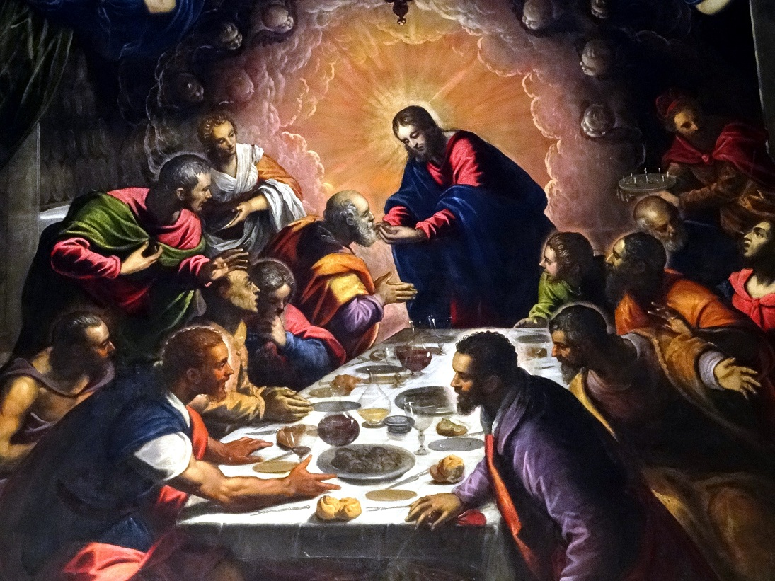 "tintorettos last supper The last supper, a passover seder, is remembered for two events: christ says to his apostles ""one of you will betray me,"" and the apostles react, each according ."